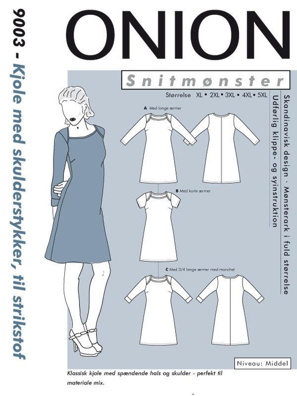 Kjole med skulderstykke, til strikstof - str. XL-5XL - Onion 9003 - Onion