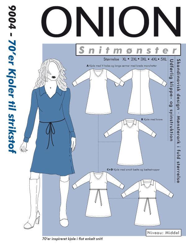 70'er kjoler til strikstof, str. XL-5XL - Onion 9004 - Onion
