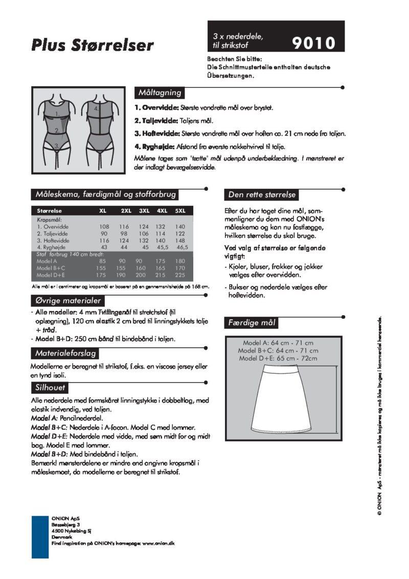 3 x nederdel til strikstof, str. XL-5XL - Onion 9010 - Onion