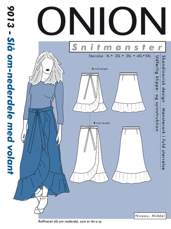 Slå om-nederdele med volant, str XS-5XL - Onion 9013 - Onion