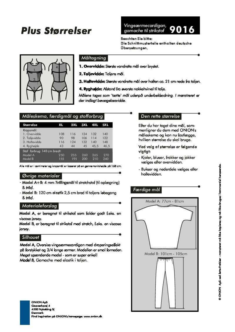 Vingeærmecardigan og gamacher til strikstof, str. XL-5XL - Onion 9016 - Onion