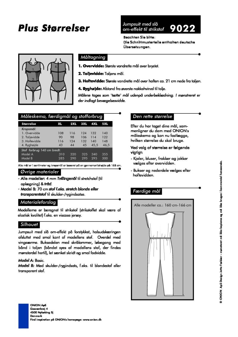 Jumpsuit med slå om-effekt til strikstof, str.XL - 5XL - Onion 9022 - Onion