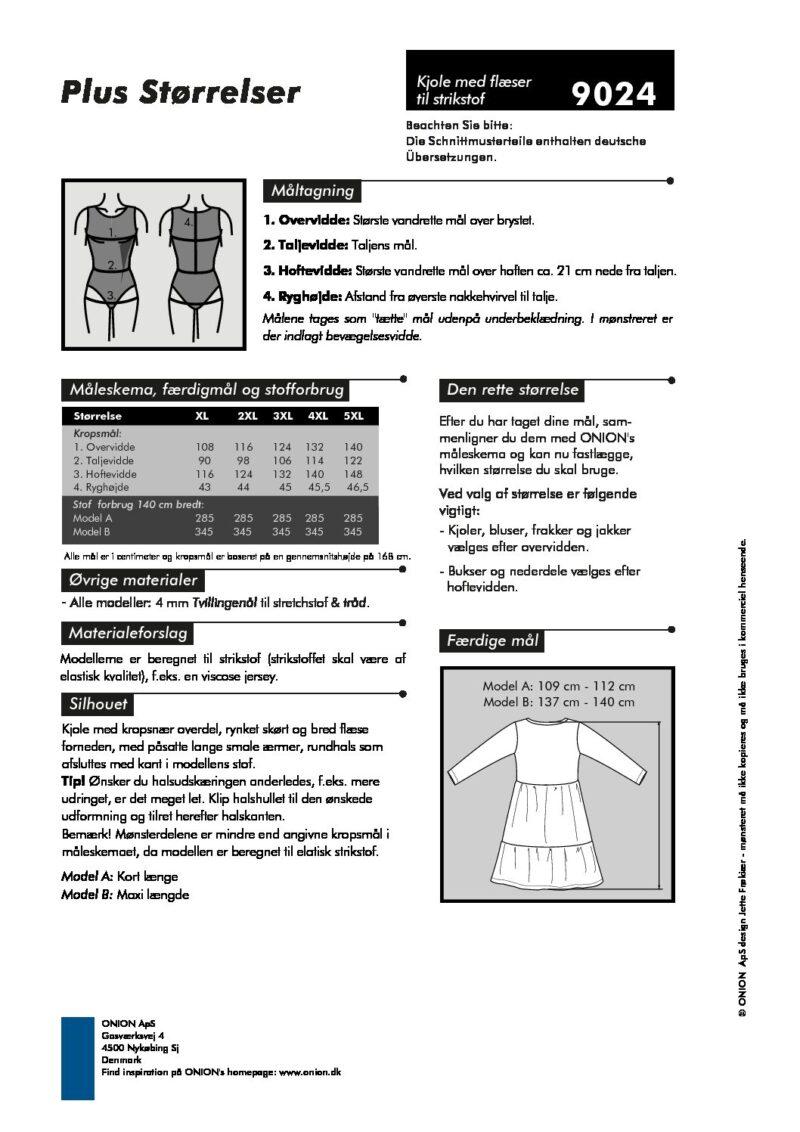 Kjole med flæser til strikstof, str.XL - 5XL - Onion 9024 - Onion