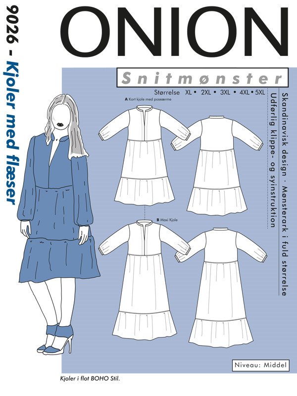 Kjole med flæser, str.XL-5XL - Onion 9026 -