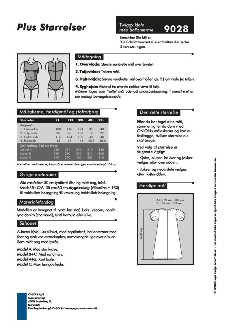 Twiggy kjole med ballonærme, str.XL-5XL - Onion 9028 - Onion