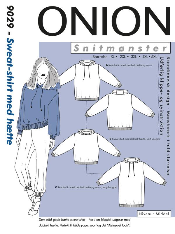 Sweat-shirt med hætte, str.XL-5XL - Onion 9029 - Onion