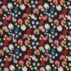 Blomsterlignende mønster på marineblå - Viskose -