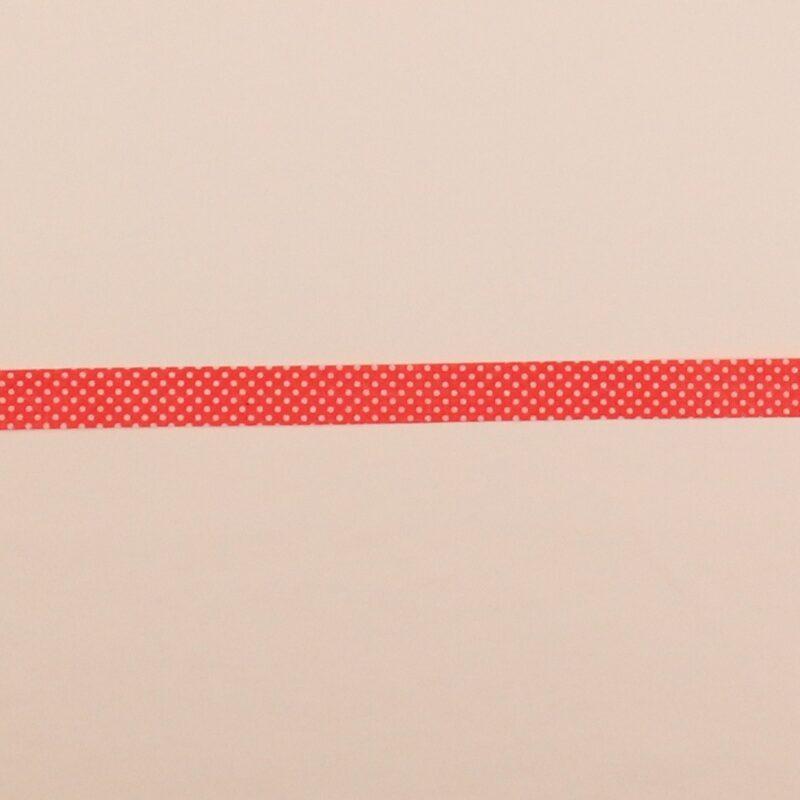 18 mm skråbånd - Rød m. hvid prik -