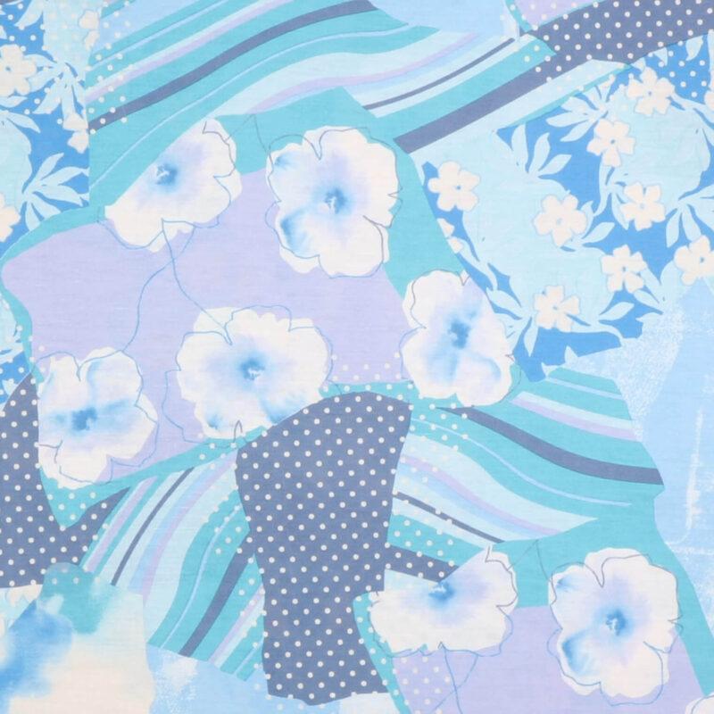 Blomster og kantet mønster - Bomuld/polyester jersey - Info mangler