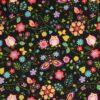 Patchwork - Blomster på sort -
