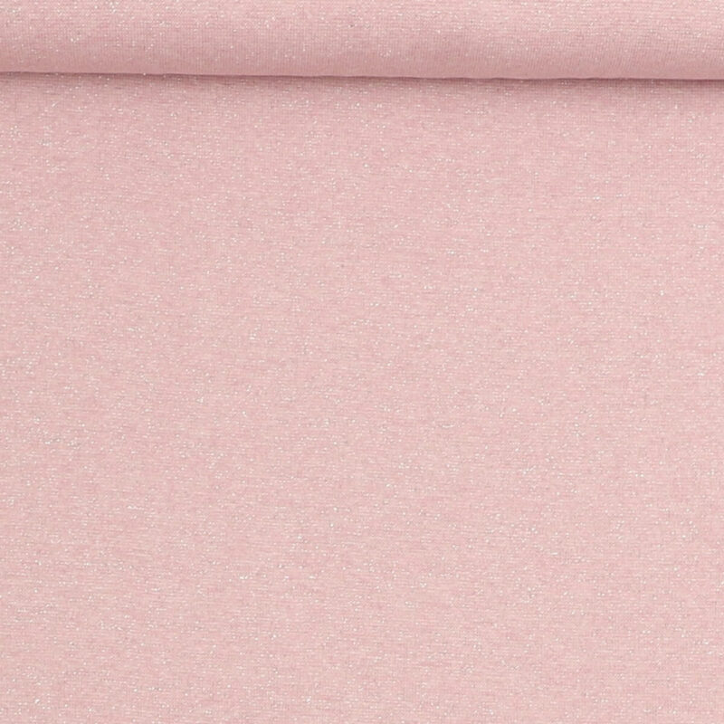 Rib med glimmer - rosa m. sølv -