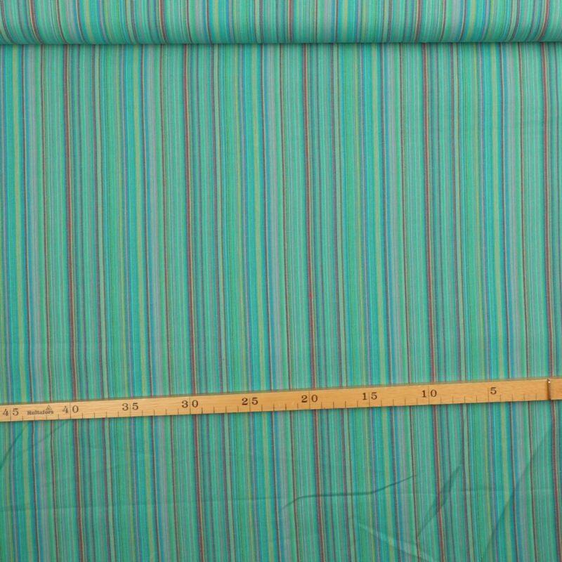 Striber, multi jade/grøn - 110 cm bred bomuld -