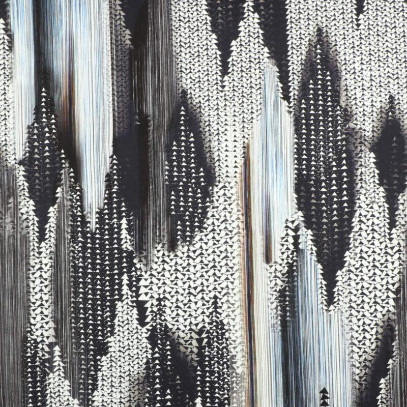 Mønster i grå/blå/sort mm. - Jersey -