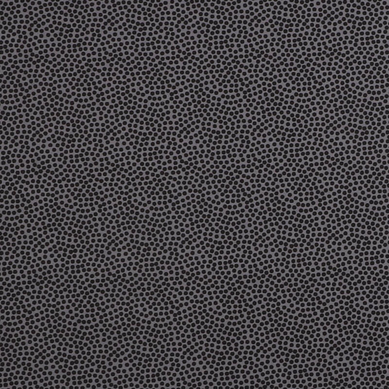 Tætte prikker, sort på mørkegrå - Let bomuld -