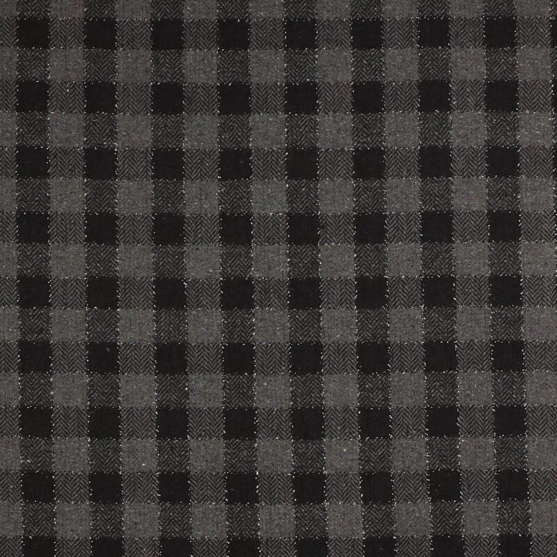 Sort og grå m. sølvtråd - Bomuld/polyester -