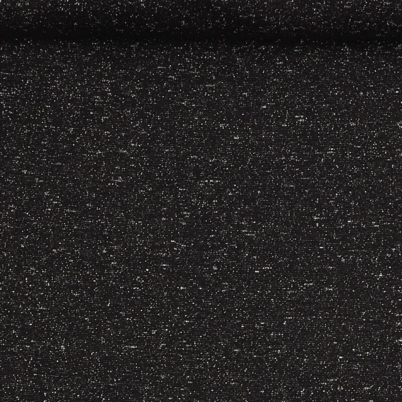 Rib med glimmer - sort m. sølv -