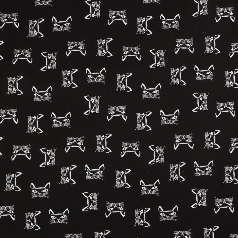 Kattehoveder på sort - Patchwork -
