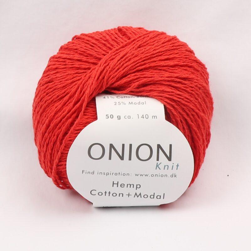 Onion Garn, Hamp/bomuld/modal - Rød fv. 410 - Info mangler