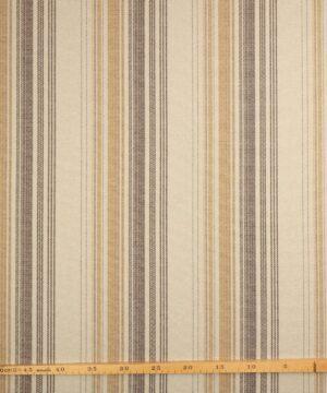 Brun, karry striber på sandfarvet bund - Uld/polyester - Info mangler