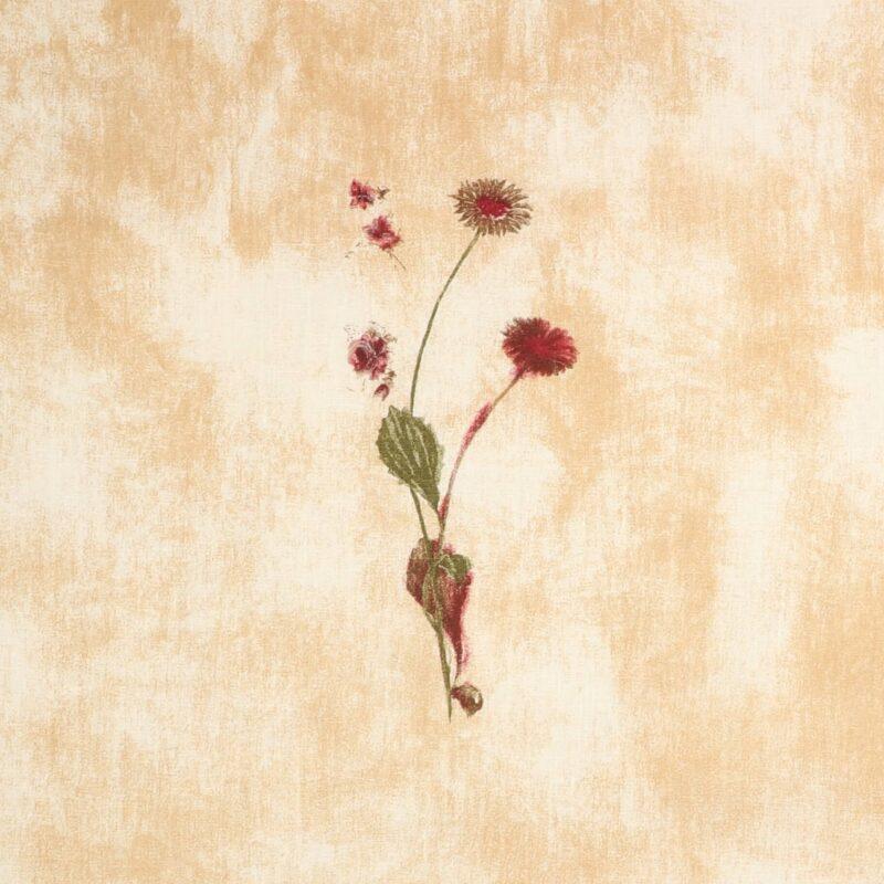 Meleret med blomst - hør/bomuld -