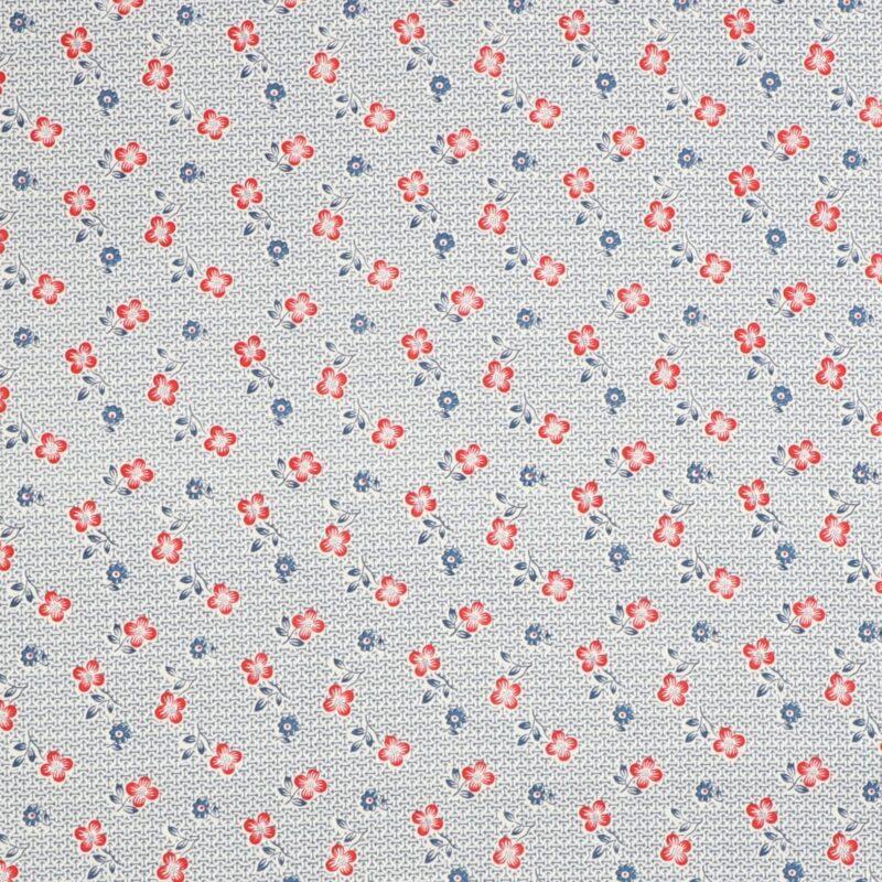 Patchwork - Blå og røde blomster -