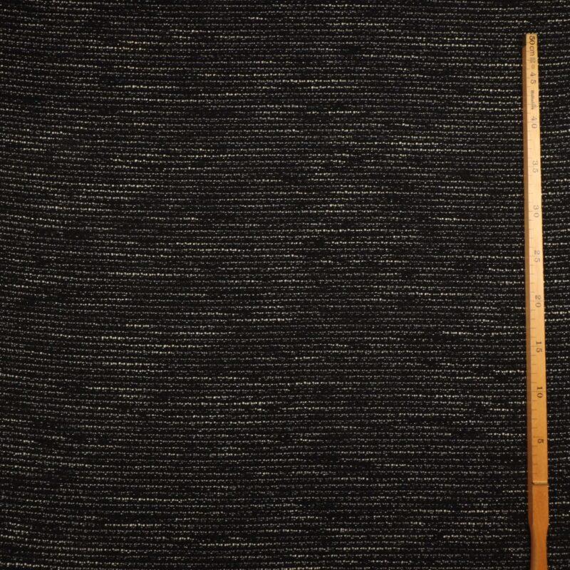 Sort/hvid m. sølvtråd - Bomuld/polyester -