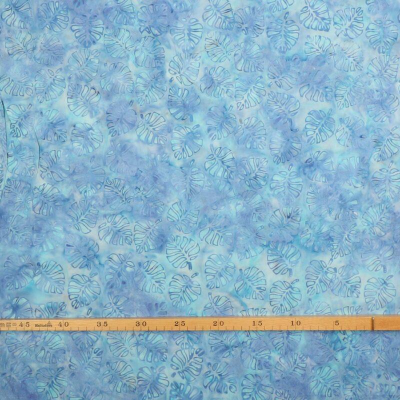 Bladmønster på blålilla/mørk mint - Bali -