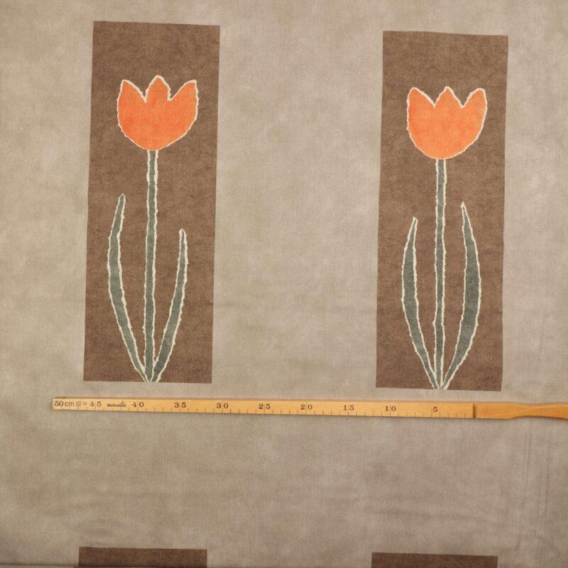 Beige/brun m. orange blomst - Bade/bruseforhæng -
