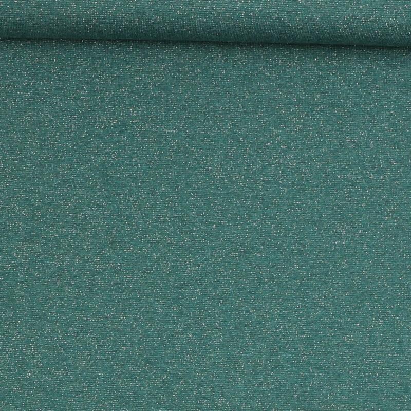 Rib med glimmer - grøn m. sølv -