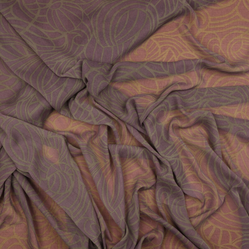 Lavendel m. gråt mønster - Chiffon Polyester -