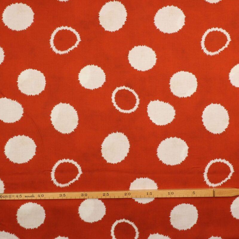 Hvidt mønster på rust - Viskose, hør -