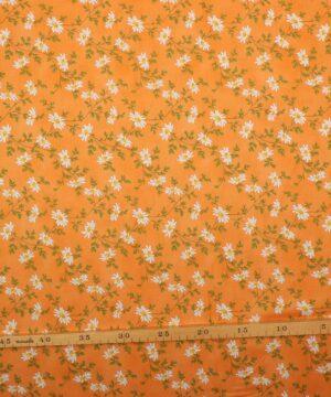 Hvid blomst på orange - Patchwork -