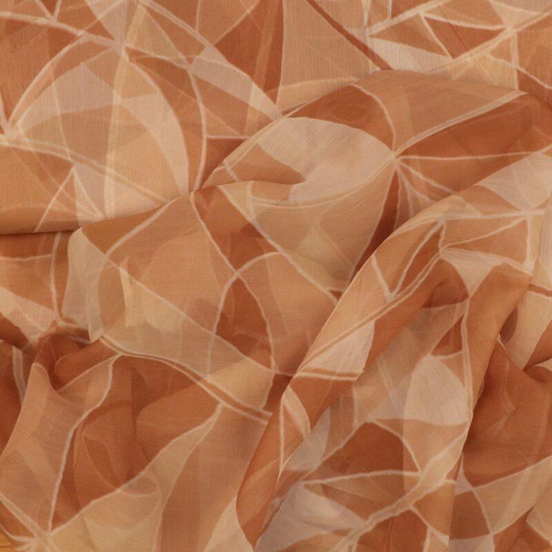 Mønster i brune nuancer - Silkechiffon -