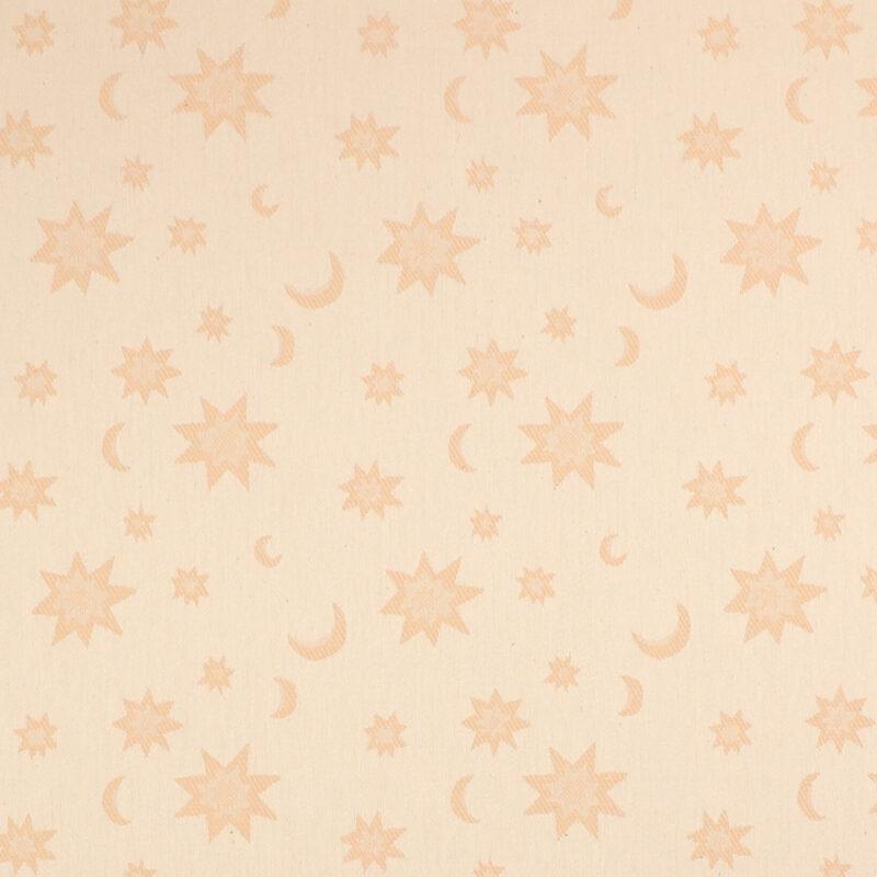 Offwhite m. måne og stjerner i lys brun - Boligtekstil -