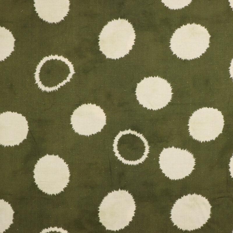 Hvidt mønster på grøn - Viskose, hør -