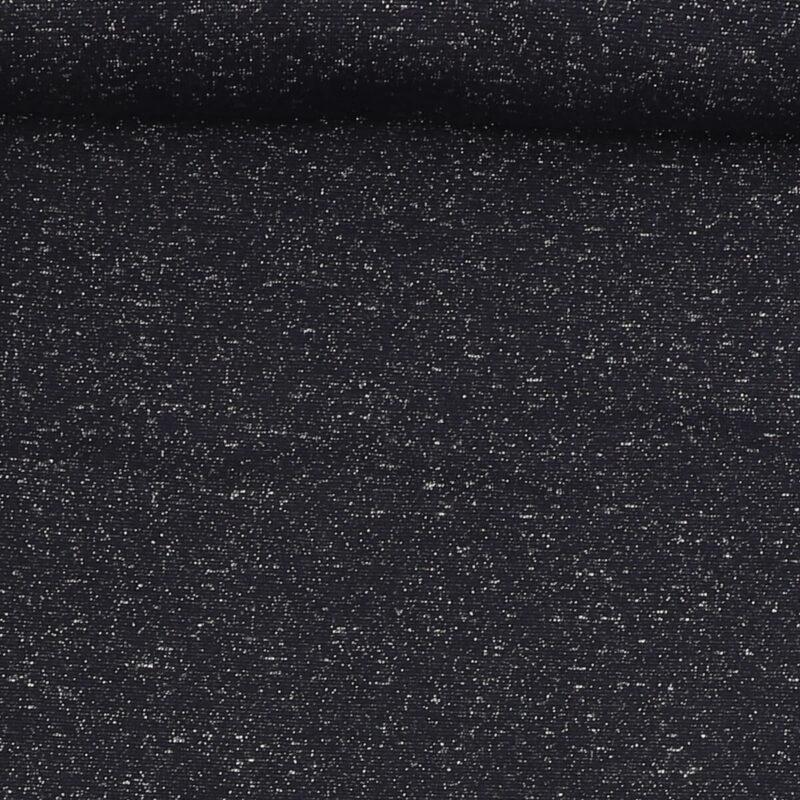 Rib med glimmer - mørkeblå m. sølv -