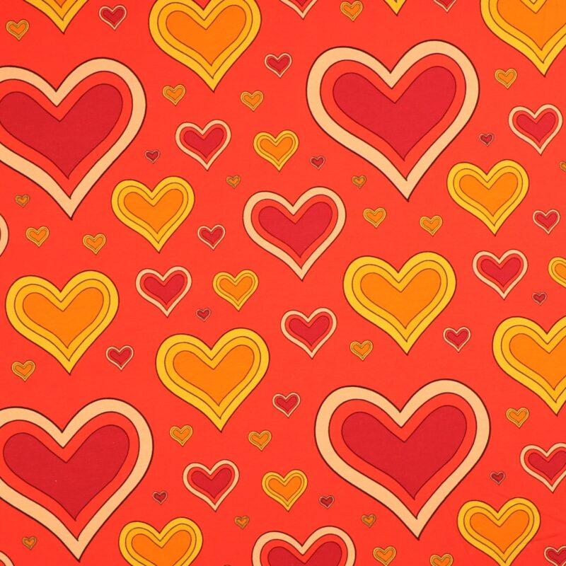 Hjerter på rød bundfarve - Jersey -