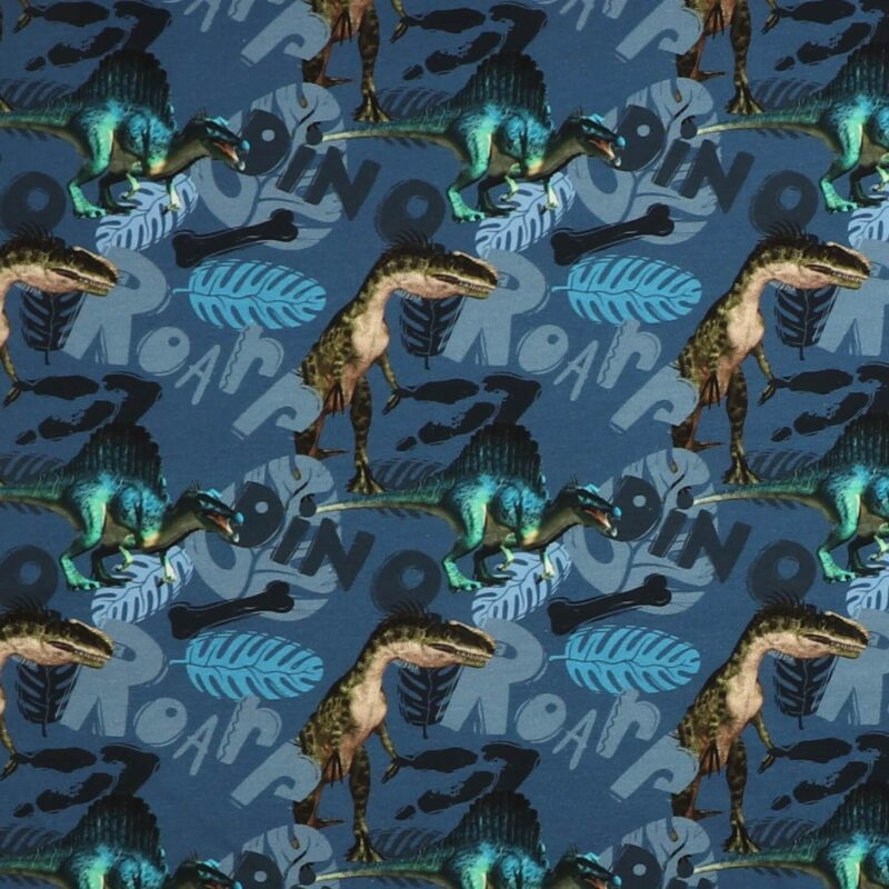 Dinosauer på blå - French Terry -