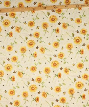 Gule blomster på svag lys gul bundfarve - Patchwork -