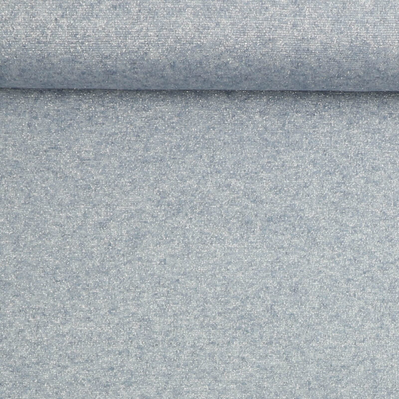 Tynd strik i lyseblå med sølvtråd - Strik Jersey - Info mangler