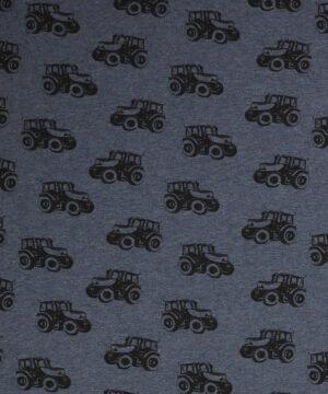 Traktor på jeansblå bundfarve – Jersey