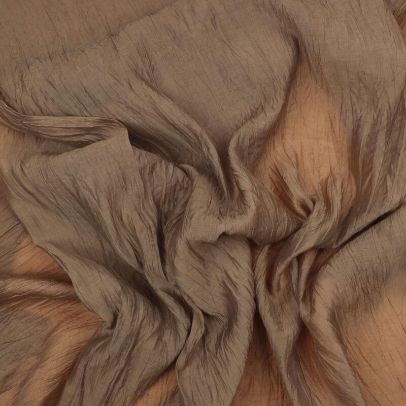 Brun m. guldtråd - Chiffon m. krøleffekt / Polyester -