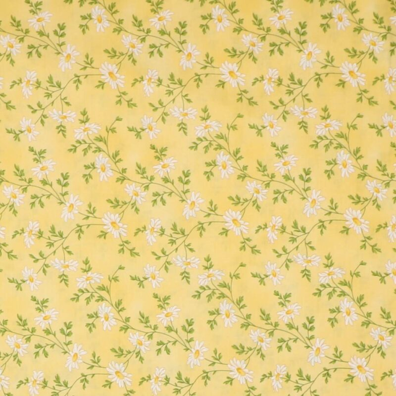 Hvid blomst på lys gul - Patchwork -