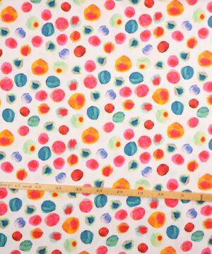 Farvede kugler på hvid - Viskose m. stræk -
