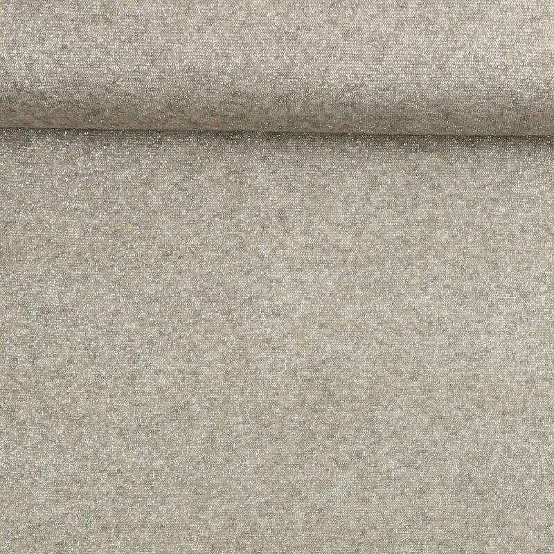 Tynd strik i lysegrå med sølvtråd - Strik Jersey -