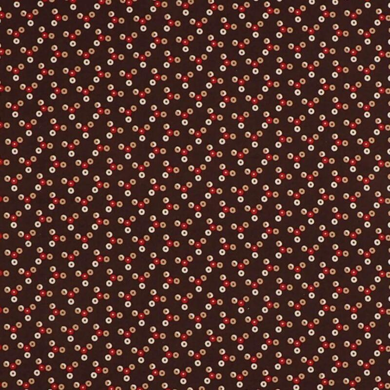 Patchwork - Små prikker i lys brun/rød/hvid på mørkebrun -