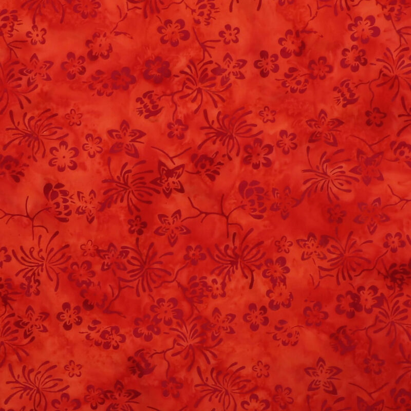 Lys rød m. mørkt mønster- Bali -