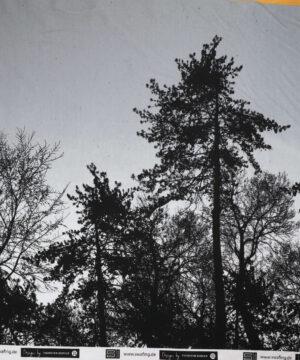 Sorte træer på lys grå - French Terry -