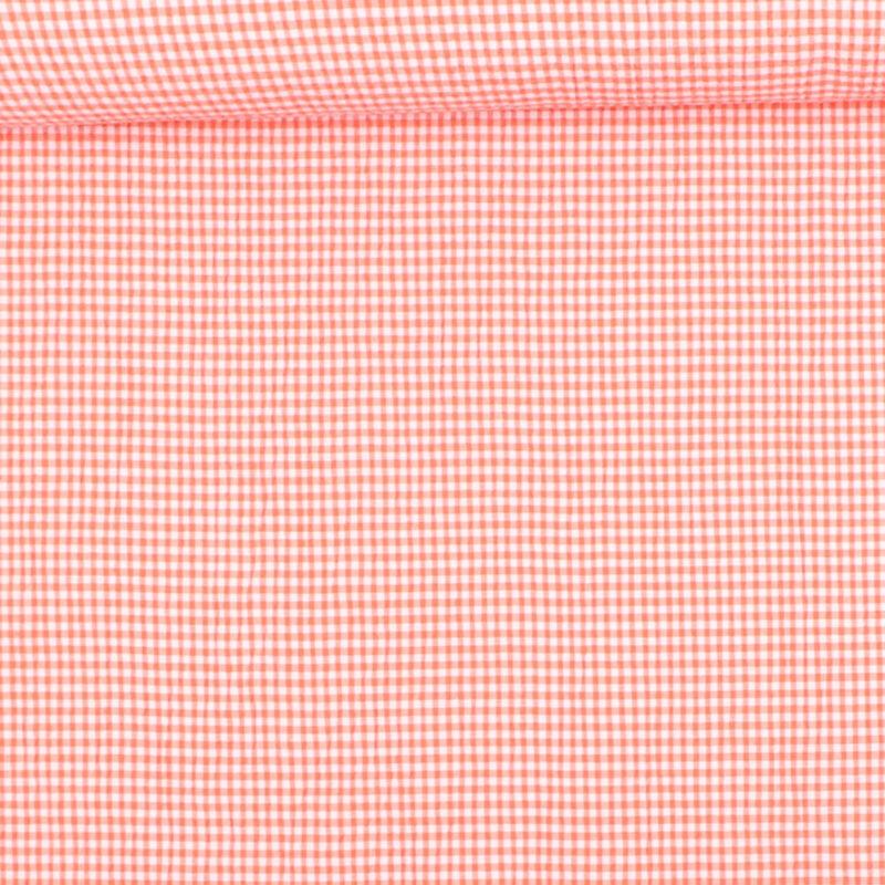 Seersucker i orange/hvid - Bomuld/polyester m. stræk -