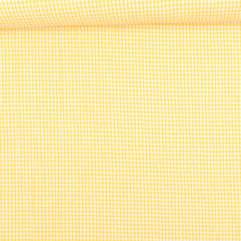 Seersucker i gul/hvid - Bomuld/polyester m. stræk -